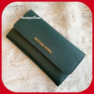 MICHAEL KORS TRIFOLD WALLET RACING GREEN